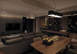 三室一厅深色系客厅装饰