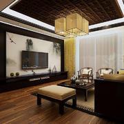 中式客厅原木吊顶效果图