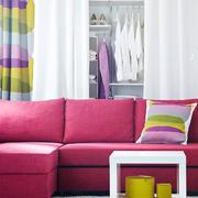 韩式清新桃红色沙发装饰