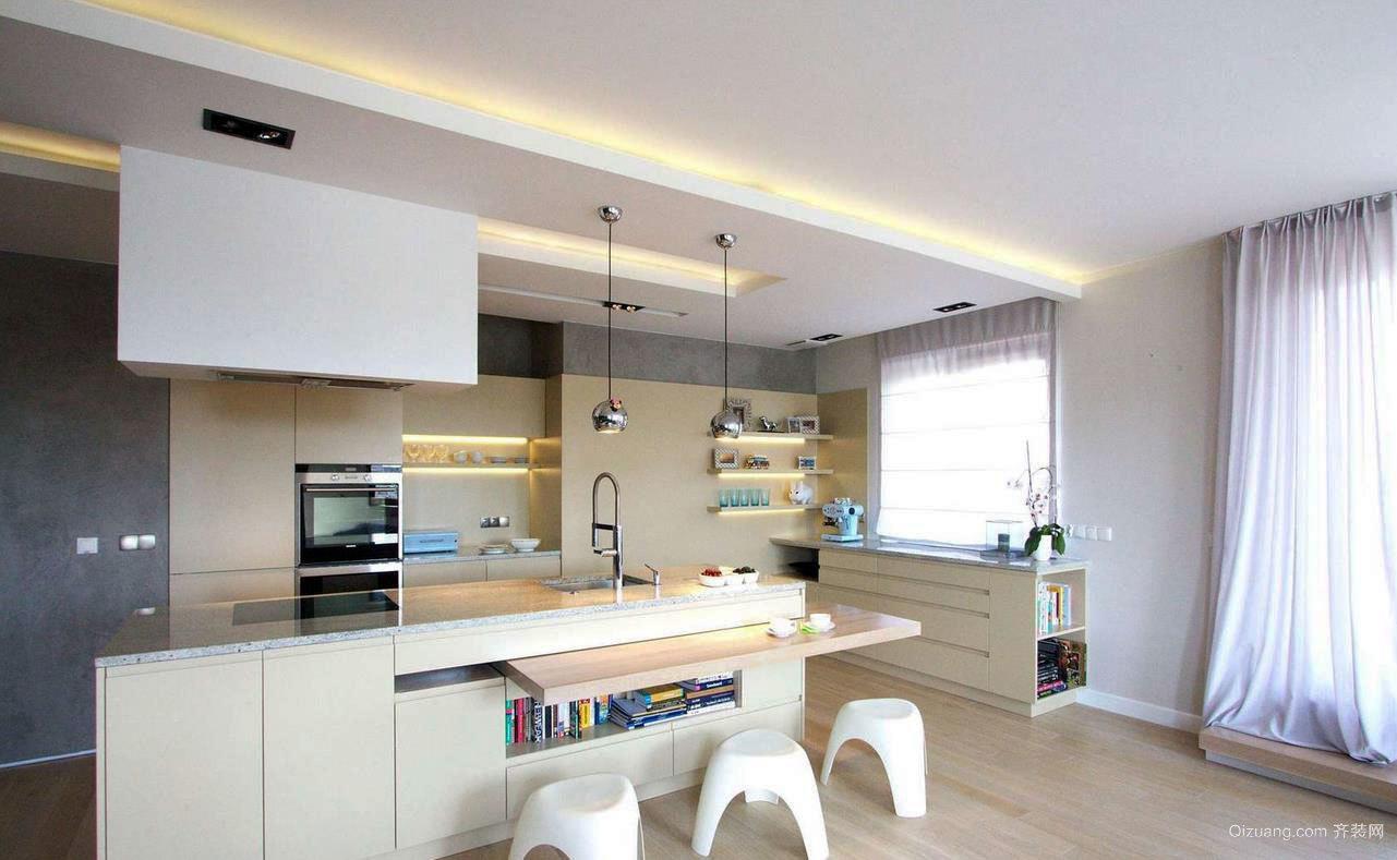 现代简约的单身公寓厨房装修效果图