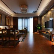 中式客厅原木地板装修