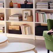 简约原木书房书柜装饰