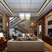 别墅中式客厅吊顶