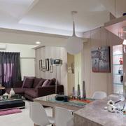 老房客厅紫色飘窗装饰