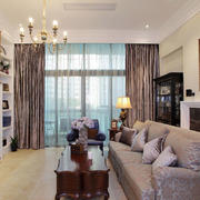 美式复式楼客厅飘窗装饰