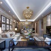 美式奢华复式别墅客厅装饰