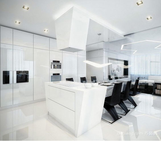 180平米门窗简明线条黑经典后现代化独栋材料别墅高档别墅白色图片