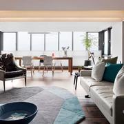 别墅原木简约风格客厅地毯装饰