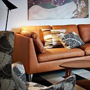 北欧风格客厅皮制沙发装饰