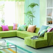 果绿色婚房客厅设计