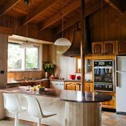 混搭风格原木厨房吧台装饰