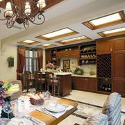 深色原木美式厨房装饰