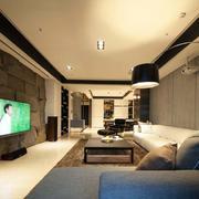 复式楼后现代风格灰色沙发装饰