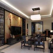 中式复古客厅屏风设计