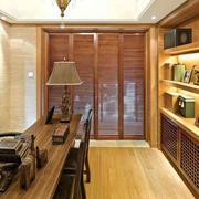 书房原木风格浅色置物架装饰