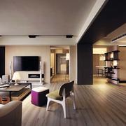 婚房简约风格客厅地板效果图