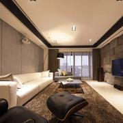 复式楼灰色系客厅背景墙设计