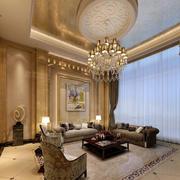 简欧风格客厅圆形吊顶设计