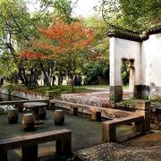 中式园林休息桌椅效果图