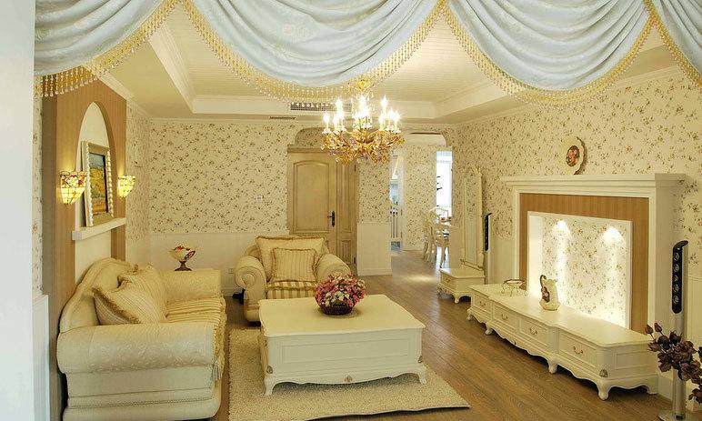 爱的小家:布满小碎花的两室一厅家庭装修效果图