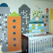 美式创意儿童房手绘墙装饰