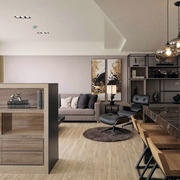 三室一厅客厅原木橱柜装修