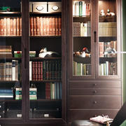 简约深色书房书柜效果图