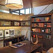 美式复古风格书房整体书柜装修
