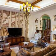 欧式深色系客厅装饰