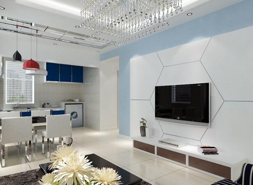 2015精致大方的客厅硅藻泥电视背景墙装修效果图实例鉴赏