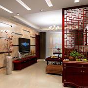 中式深色原木客厅隔断装饰