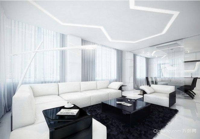 180平米线条简明经典黑白色后现代化独栋别墅装修