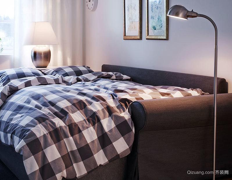 备受单身男士喜爱的灰色系列公寓卧室装修效果图