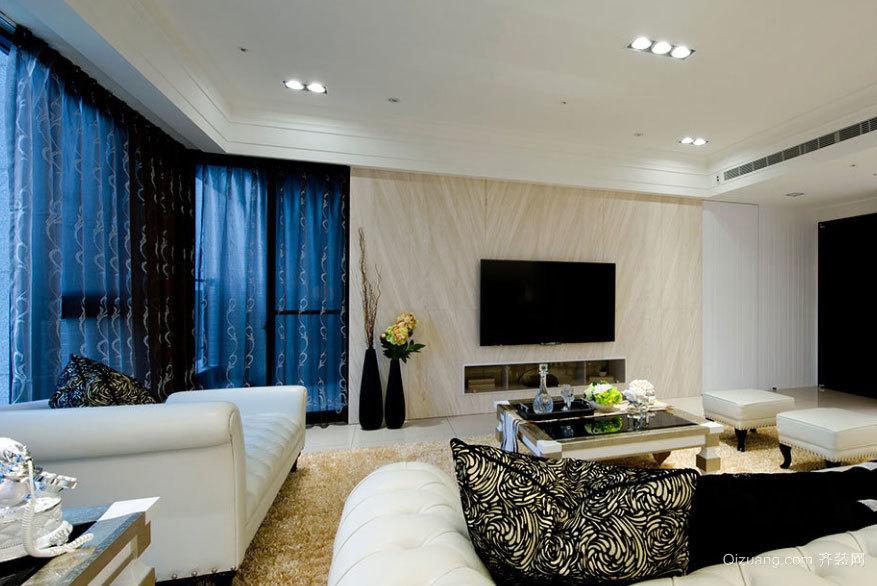 白色简约纯净唯美的130平米的三居室新房装修效果图