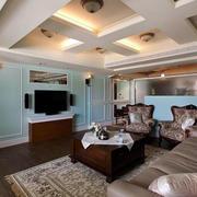 美式复古复式楼沙发效果图