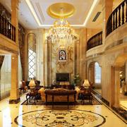 别墅欧式奢华客厅吊顶设计