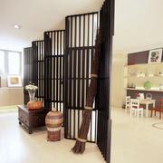 中式客厅原木深色客厅隔断