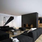 loft风格客厅原木地板效果图