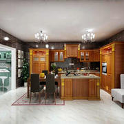 美式复古风格厨房吧台设计