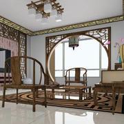 中式客厅原木浅色桌椅装饰