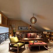 美式深色系阁楼客厅装饰