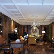 美式别墅深色书房效果图