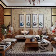 中式客厅原木浅色沙发装饰