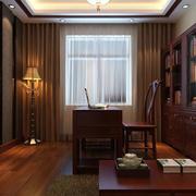 东南亚风格书房整体书柜效果图