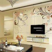 后现代风格深色花纹客厅背景墙