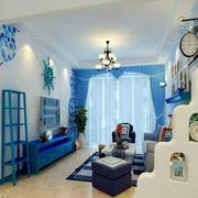 卧室简约蓝色电视柜装饰