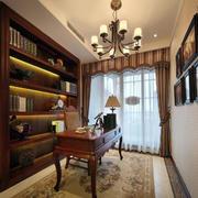 欧式深色原木书房整体书柜设计