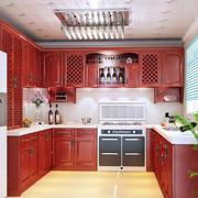 美式深色厨柜效果图