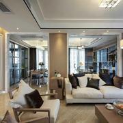 三室两厅后现代风格客厅沙发装饰