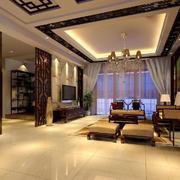 中式客厅镂空隔断效果图